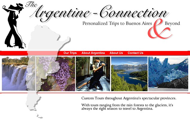 screenshot of travel site designed by Lauren Brush