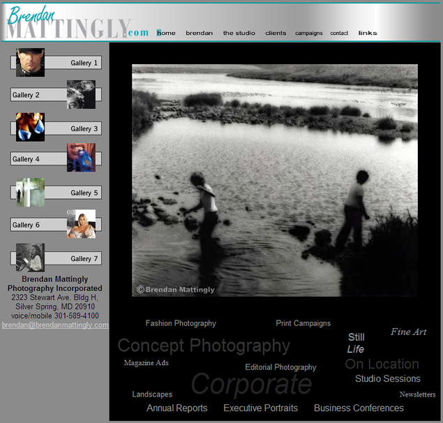 screenshot of photography portfolio site designed by Lauren Brush