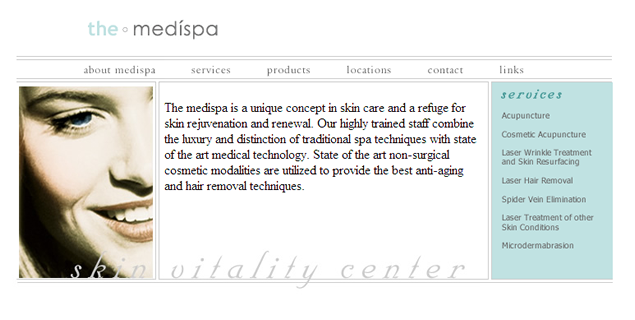screenshot of medispa site by Lauren Brush