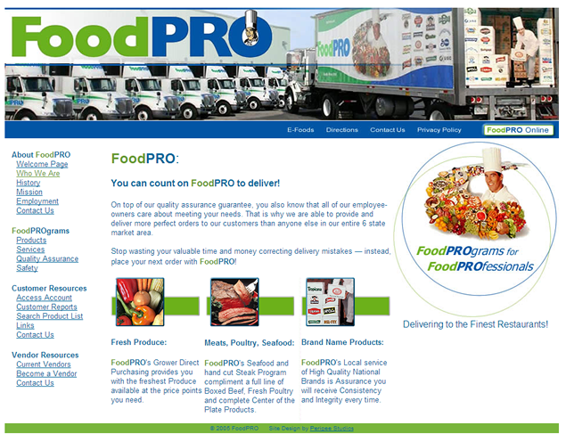 screenshot of wholesale foods site designed by Lauren Brush