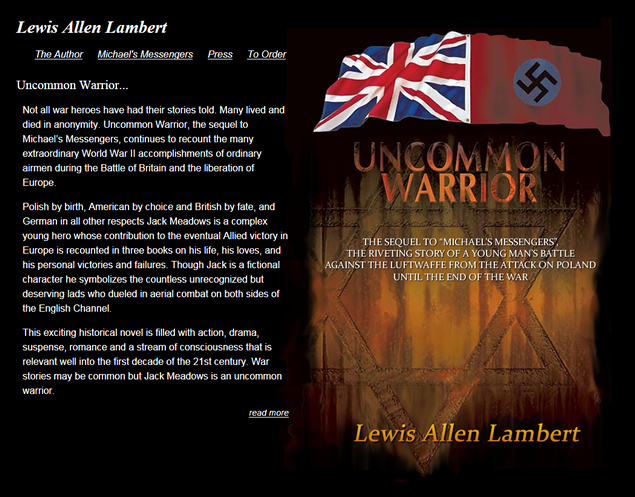 screenshot of site designed by Lauren Brush to promote book Uncommon Warrior