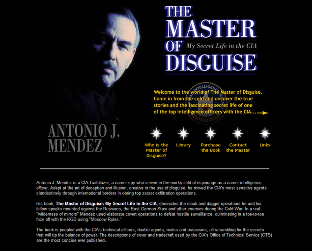 screenshot of site designed by Lauren Brush to promote book Master of Disguise