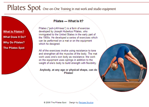 screenshot of fitness site designed by Lauren Brush