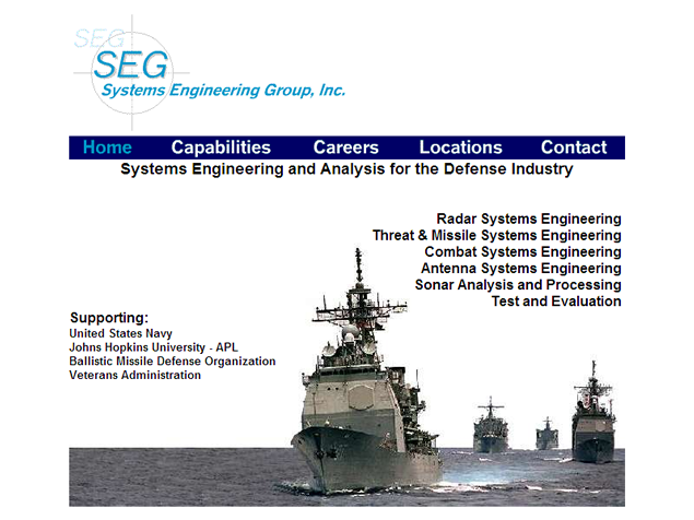 screenshot of defense engineering site designed by Lauren Brush
