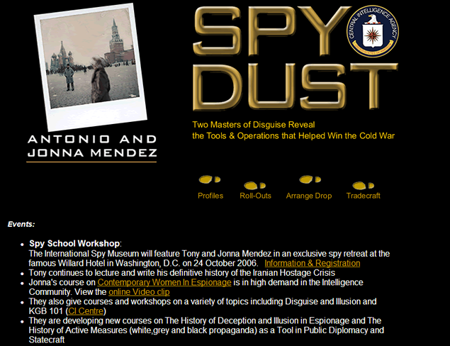 screenshot of site designed by Lauren Brush to promote book Spy Dust