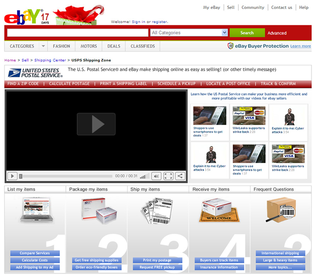 screenshot of USPS & eBay site designed by Lauren Brush